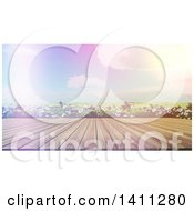 Clipart Of A 3d Wood Table Or Deck Against Daisies And A Sunny Valley With Dramatic Sunset Lighting Royalty Free Illustration
