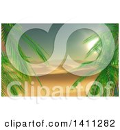 Clipart Of A 3d Palm Trees Framing A Landscape Background Of A Desert Sunset Royalty Free Illustration by KJ Pargeter