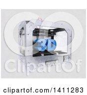 Clipart Of A Sketched Styled 3d Printer Royalty Free Illustration by KJ Pargeter