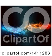 Clipart Of A Background Of Flowing Blue Orange And Red Lights And Flares Royalty Free Illustration by KJ Pargeter