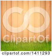 Clipart Of A Background Of Green Grass Over Wood Panels With Light Royalty Free Vector Illustration