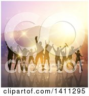 Clipart Of A Group Of Silhouetted Dancers Over Mountains At Sunset Royalty Free Vector Illustration