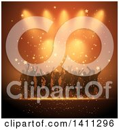 Clipart Of A Group Of Silhouetted Dancers Over Orange Lights And Stars Royalty Free Vector Illustration