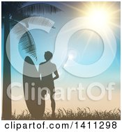 Clipart Of A Silhouetted Male Surfer With A Board By A Palm Tree Against A Sunset Royalty Free Vector Illustration