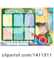 Clipart Of A School Timetable With A Boy Royalty Free Vector Illustration