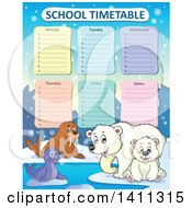 Clipart Of A School Timetable With Arctic Animals Royalty Free Vector Illustration by visekart