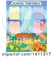 Clipart Of A School Timetable With Australian Animals Royalty Free Vector Illustration by visekart