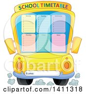 Clipart Of A School Timetable Bus Royalty Free Vector Illustration by visekart