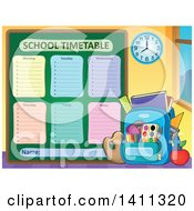 Clipart Of A School Timetable With A Backpack Royalty Free Vector Illustration