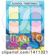 Clipart Of A School Timetable With Sea Creatures Royalty Free Vector Illustration