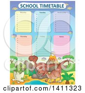 Clipart Of A School Timetable With Dinosaurs Royalty Free Vector Illustration