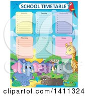 Clipart Of A School Timetable With African Animals Royalty Free Vector Illustration by visekart