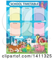 Poster, Art Print Of School Timetable With Farm Animals