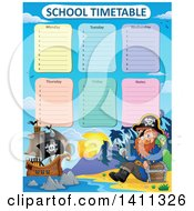 Clipart Of A School Timetable With A Pirate On An Island Royalty Free Vector Illustration