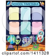 Clipart Of A School Timetable With Aliens Royalty Free Vector Illustration by visekart