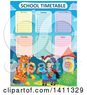 Clipart Of A School Timetable With A Princess Knight And Dragons Royalty Free Vector Illustration by visekart