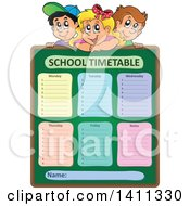 Clipart Of School Children Over A Timetable Royalty Free Vector Illustration