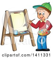 Clipart Of A Cartoon Caucasian Boy Painting On Canvas Royalty Free Vector Illustration