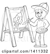 Clipart Of A Cartoon Black And White Lineart Boy Painting A Flower On Canvas Royalty Free Vector Illustration by visekart
