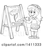 Clipart Of A Cartoon Black And White Lineart Girl Painting A Flower On Canvas Royalty Free Vector Illustration by visekart