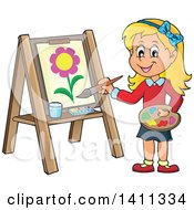 Clipart Of A Cartoon Caucasian Girl Painting A Flower On Canvas Royalty Free Vector Illustration