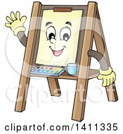 Clipart Of A Friendly Easel Character Waving Royalty Free Vector Illustration