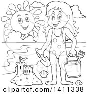 Clipart Of A Black And White Lineart Happy Girl With A Sand Castle And Happy Sun On A Beach Royalty Free Vector Illustration by visekart