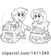 Poster, Art Print Of Black And White Lineart School Boy And Girl Going Through Their Backpacks