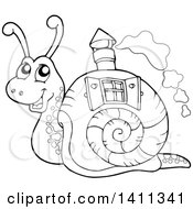 Clipart Of A Black And White Snail With A House Shell Royalty Free Vector Illustration by visekart