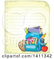 Clipart Of A Sheet Of Ruled Paper And School Backpack Royalty Free Vector Illustration by visekart