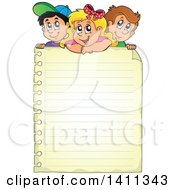 Clipart Of School Children Over A Blank Sheet Of Ruled Paper Royalty Free Vector Illustration