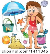 Clipart Of A Happy Caucasian Girl Carrying A Beach Bucket And Shovel With Other Items Royalty Free Vector Illustration by visekart