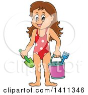 Clipart Of A Happy Caucasian Girl Carrying A Beach Bucket And Shovel Royalty Free Vector Illustration by visekart