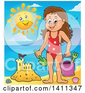 Clipart Of A Happy Caucasian Girl By A Sand Castle And A Happy Sun Royalty Free Vector Illustration