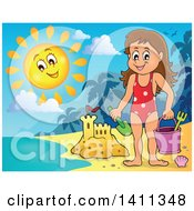 Clipart Of A Happy Caucasian Girl By A Sand Castle And A Happy Sun Royalty Free Vector Illustration by visekart