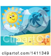 Clipart Of A Happy Sun Over A Beach Royalty Free Vector Illustration