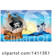 Clipart Of A Pirate Ship By An Island At Sunset Royalty Free Vector Illustration by visekart