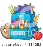 Clipart Of A Backpack And School Supplies Royalty Free Vector Illustration