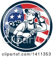 Clipart Of A Retro Welder Man Looking Over His Shoulder In An American Flag Circle Royalty Free Vector Illustration