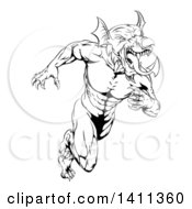 Clipart Of A Black And White Muscular Aggressive Welsh Dragon Man Mascot Sprinting Upright Royalty Free Vector Illustration by AtStockIllustration