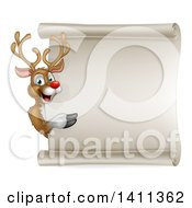 Clipart Of A Happy Rudolph Red Nosed Reindeer Pointing Around A Scroll Sign Royalty Free Vector Illustration