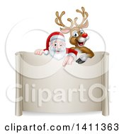 Clipart Of A Christmas Red Nosed Reindeer And Santa Pointing Down Over A Scroll Sign Royalty Free Vector Illustration