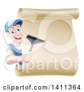 Clipart Of A Happy Middle Aged Brunette Caucasian Window Cleaner Man In Blue Holding A Squeegee Around A Scroll Sign Royalty Free Vector Illustration