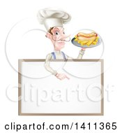 Clipart Of A White Male Chef With A Curling Mustache Holding A Hot Dog And Fries On A Platter And Pointing Down Over A White Menu Board Sign Royalty Free Vector Illustration by AtStockIllustration
