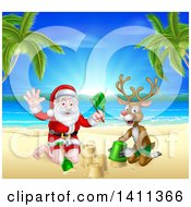 Clipart Of A Rudolph Red Nosed Reindeer And Santa Claus Making A Sand Castle On A Tropical Beach Royalty Free Vector Illustration by AtStockIllustration