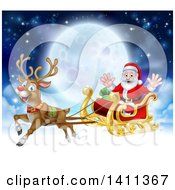 Clipart Of A Flying Magic Christmas Red Nosed Reindeer Rudolph Flying Santa In A Sleigh Above The Clouds Against A Full Moon Royalty Free Vector Illustration