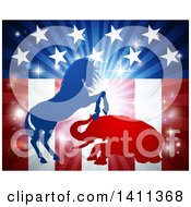 Silhouetted Political Democratic Donkey Or Horse And Republican Elephant Fighting Over An American Design And Burst