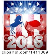 Clipart Of A Silhouetted Political Democratic Donkey Or Horse And Republican Elephant Fighting Over An American 2016 Design And Burst Royalty Free Vector Illustration