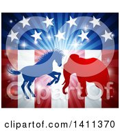 Clipart Of A Silhouetted Political Democratic Donkey Or Horse And Republican Elephant Fighting Over An American Design And Burst Royalty Free Vector Illustration