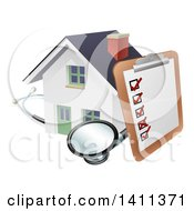 Clipart Of A Survey Or Check List On A Clip Board And Stethoscope Against A 3d White Home Royalty Free Vector Illustration
